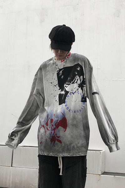graffiti hand-painted long-sleeved T-shirt
