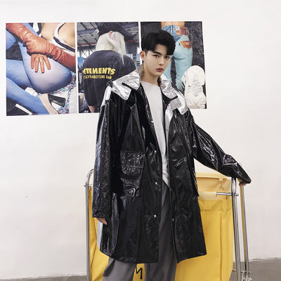 Dual color stitching loose fit detachable hood shiny rubbery Trench jacket