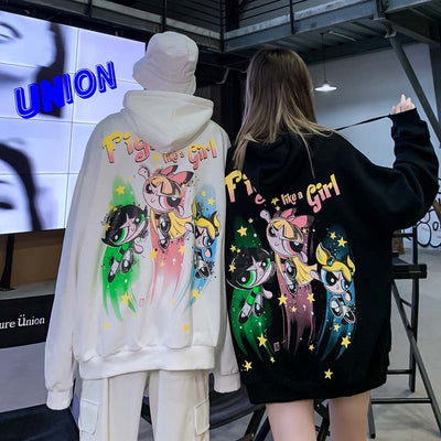 cartoon printed cotton hooded sweater