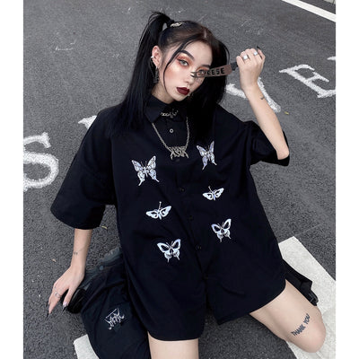 short-sleeved butterfly printed shirt