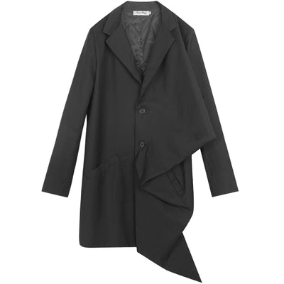 Irregular Folding Deconstructed asymmetric Mid-length Loose fit Trench coat