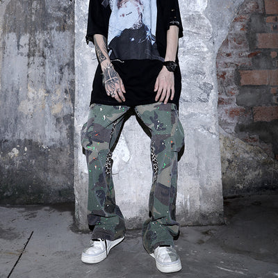 camouflage stitching paint wash trousers
