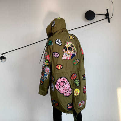 skull embroidery long hooded loose fit skeleton patch jacket