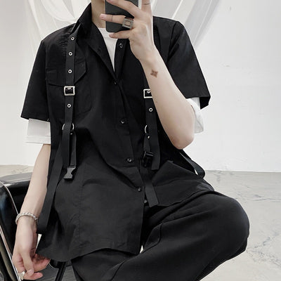 Summer dark black short-sleeved shirt