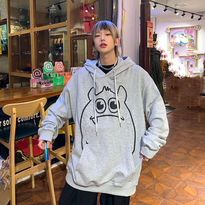 Hooded Autumn Cartoon Printed Oversize Sweater