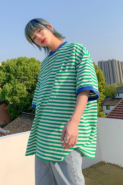 striped short-sleeved loose T-shirt