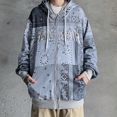 full printed hooded loose casual cardigan sweater