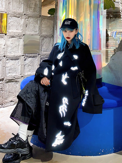 Original Lightning Reflective LOGO Fire Letter Warm Casual Long Girl Coat