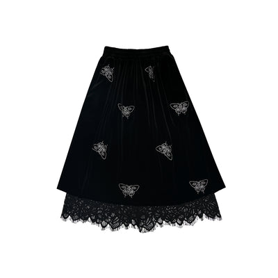 butterfly niche design front and back embroidered Girl skirt