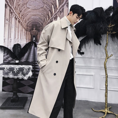 double breasted high fashion mid-length trench coat jacket in 2 colors