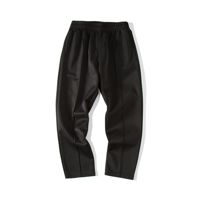 Solid color straight fit cropped smart trousers in 2 colors