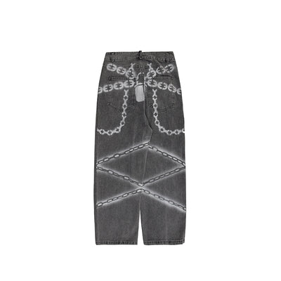 Wide leg chain printed straight fit washed out jeans