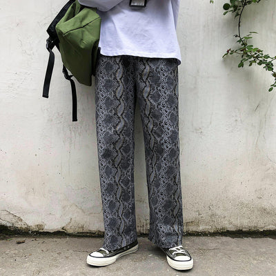 Snake lizard animal print overalls wide leg straight fit roll up casual pants