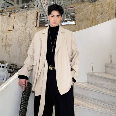 Japanese trimmed trench coat loose fit Korean fashion suit collar blazer jacket
