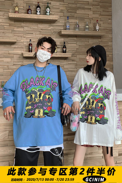 turtles printed long-sleeved loose sweater