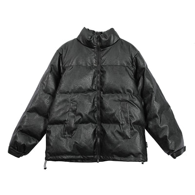 PU fake leather Korean skater thick puffer jacket
