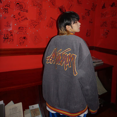 Leman corduroy embroidered slogan baseball jacket
