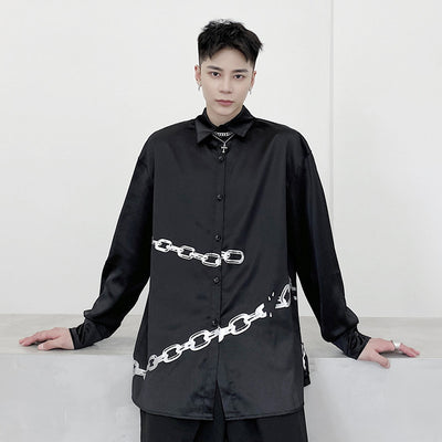 long-sleeved chain printed shiny satin dark shirt