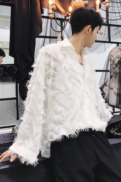 Unusual feather transparent finish  square collar long sleeve high fashion  shirt