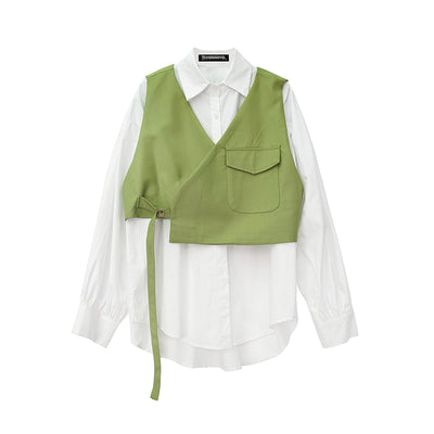 Small vest top stitching long-sleeved loose Fit two-piece Girl shirt set