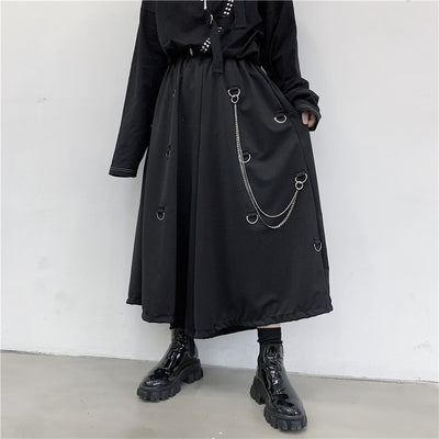 wide leg metal hanging hoops chain loose gothic skirt