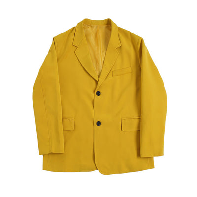 loose fit casual fluorescent blazer jacket in yellow