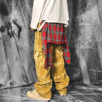 Tie-dye corduroy fake stitching two pieces with checkered apron layer casual pants