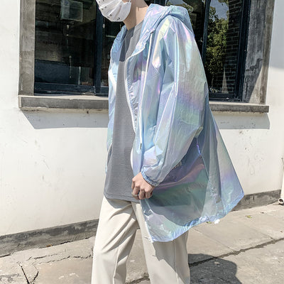 loose shiny gradient color jacket