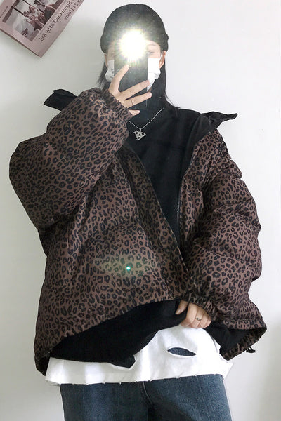Thick loose fit leopard animal print bomber Korean skater puffer