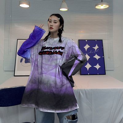 tie-dye long-sleeved oversize loose t-shirt