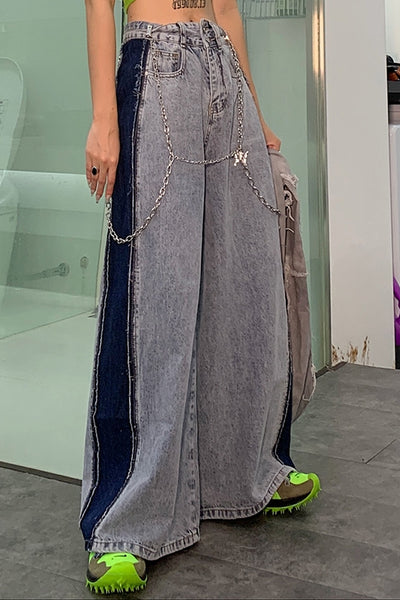 side contrast color high wide leg waist jeans in blue