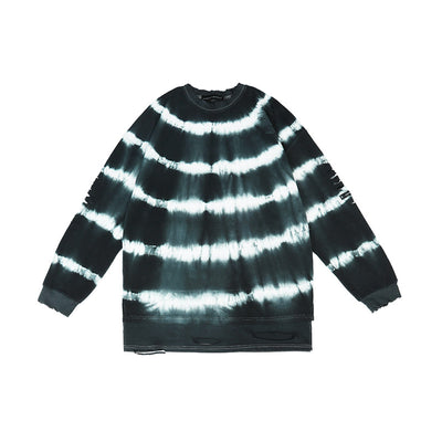round neck tie-dye stitching loose top