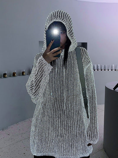 Reflective knitted hooded sweater