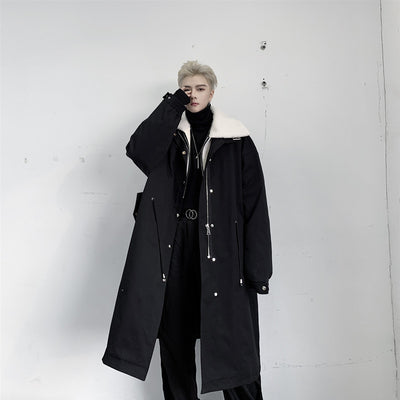 Thick fake lamb fur stand collar fleece mid-length cotton Trench coat in 2 colors
