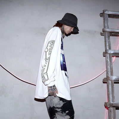 long-sleeved oversize printed loose T-shirt