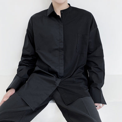 stitching long-sleeved dark black shirt