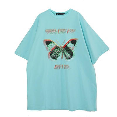 loose butterfly printed short-sleeved t-shirt