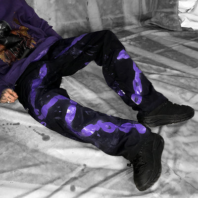 Chain hand-painted graffiti spray paint custom made beam adjustable trousers in two colors