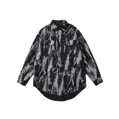flower print washed Korean skater style long-sleeved shirt in 2 colors
