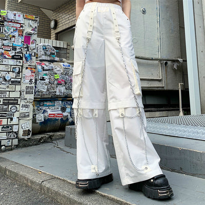 Industrial utility multi stitched chain wide thin flared long pants