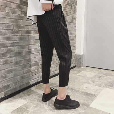 Pinstripe Cropped length Korean skater ankle smart trousers