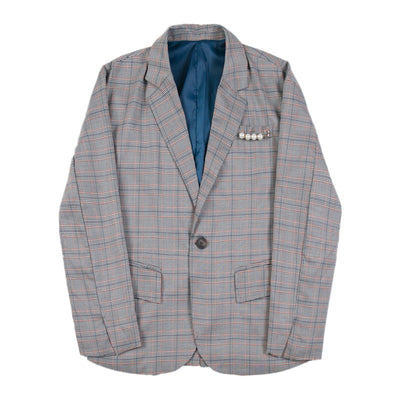 Vintage inspired plaid check blazer in gray