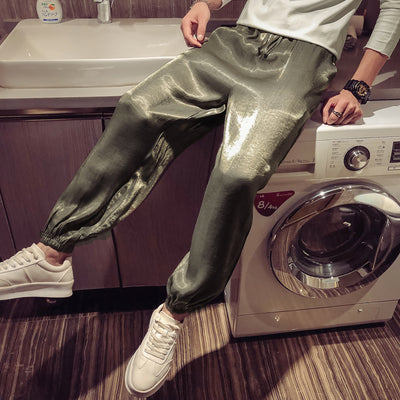 casual silk nine-point pants