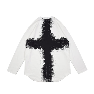 bottoming cross printed casual long-sleeved T-shirt