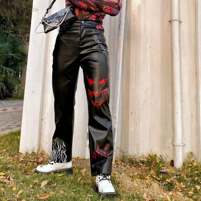 High Waist Graffiti painted Darkness Hollow fake Leather Girl Casual Pants