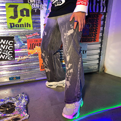 Loose straight fit bleached gradient Korean skater Retro Jeans