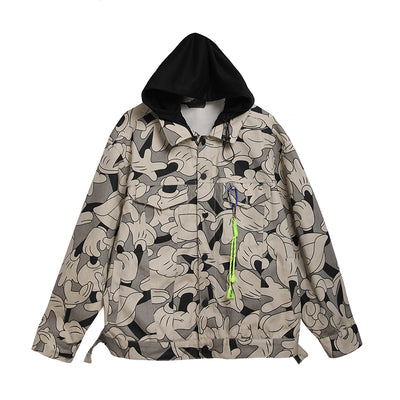 cartoon graffiti print hooded Korean skater windbreaker sports jacket