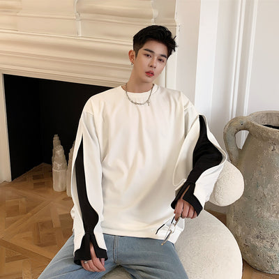 contrast color stitching sleeves loose fit sweatshirt in 2 colors