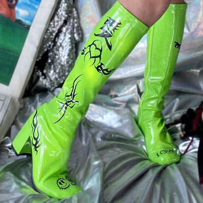 hand painted graffiti love hate fluorescent green PU leather long-heeled boots