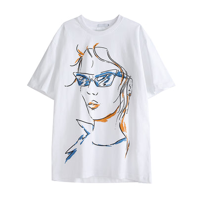 hand-painted graffiti short-sleeved T-shirt